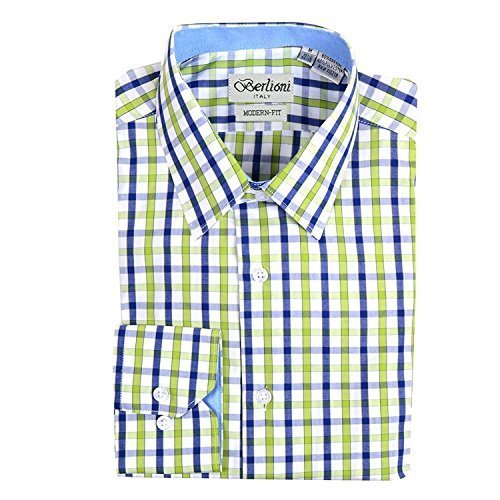 Berlioni Italy Boys Kids Toddlers Checkered Plaid Dress Shirt (Green, 14)