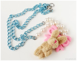 Sweet Lolita Rabbit Plushie Necklace, Pastel Pink and Baby Blue, Beaded ... - $18.00