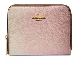 Coach Pink Ombré Small Zip Around NWT Gold 57093 Pebble Leather Clutch S... - £74.61 GBP