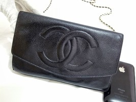 Auth Chanel Timeless Black Caviar Leather Gold Chain Wallet WOC Crossbody Bag image 8