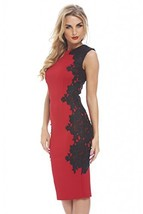 AX Paris Crochet Lace Side Midi Red DressRed Black, Size:8 - $51.27