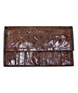 Vintage EEL SKIN Magahony Color Clutch Envelope Handbag Purse  - $26.15