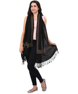 Womens Beautiful Hand Crafted Black Square Line Crystal Pure Wool Stole - $30.00