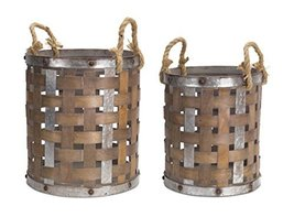 Set of 2 Wooden Decorative Country Rustic Baskets with Rope Handles  - $102.66