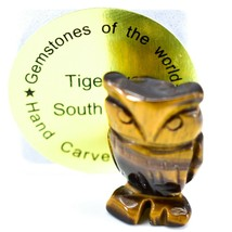 Tiger's Eye Gemstone Tiny Miniature Owl Figurine Hand Carved in China