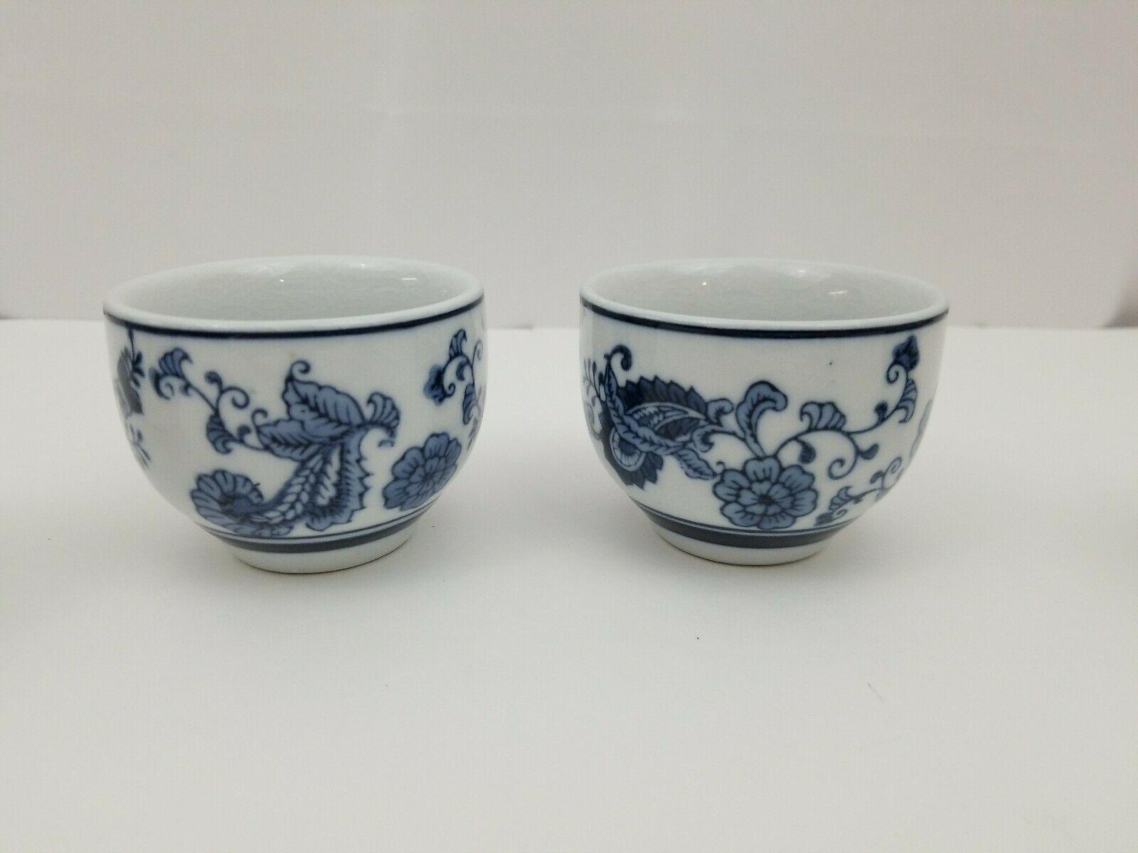 Pier 1 Imports Porcelain Tea Cups Sake Set of 4 White Blue Floral Dish Safe image 7