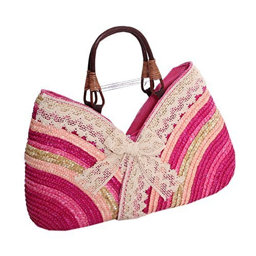 Color Block Pink Straw Irregualr Handbag