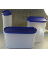 Vintage Tupperware 3 Modular Mates w/Blue Lids Storage Containers 1661 2401 1614 - $19.79