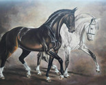 Horses in Harmony Oil Painting on canvas ORIGINAL hand painted. Black horse - ₹58,803.15 INR