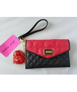 Betsey Johnson Women's Wallet NWT Clutch Quilted Red Dangle Heart Designer - $46.49