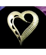 """HEART PIN Vintage BROOCH Lined & Half Circle Cut Outs Goldtone 1 3/4"""" LOVE - $25.99"""