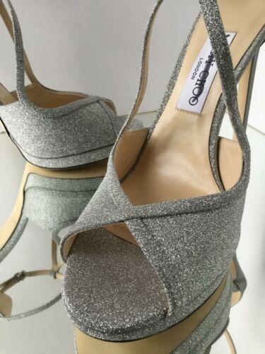 NEW JIMMY CHOO Fawne Glittered Leather Platform Sandals (Size 40) - $895