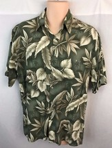 Campia Moda Mens Medium Hawaiian Shirt Green Tan Short Sleeve Button Front  - $13.99