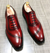 Men's Maroon Black Oxford Derby Formal Dress Magnificent Genuine Leather... - $129.99+