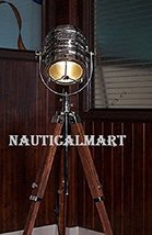 Designer Classic Chrome Nautical Tripod Floor Lamp, Abrasive Teak Tripod Floor L - $188.59