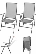 Metal Outdoor Chairs 2 pcs Garden Patio Camping Reclining Seats Furnitur... - $205.87