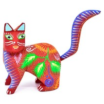 Handmade Alebrijes Oaxacan Copal Wood Carving Painted Cat Kitten Figurine image 1