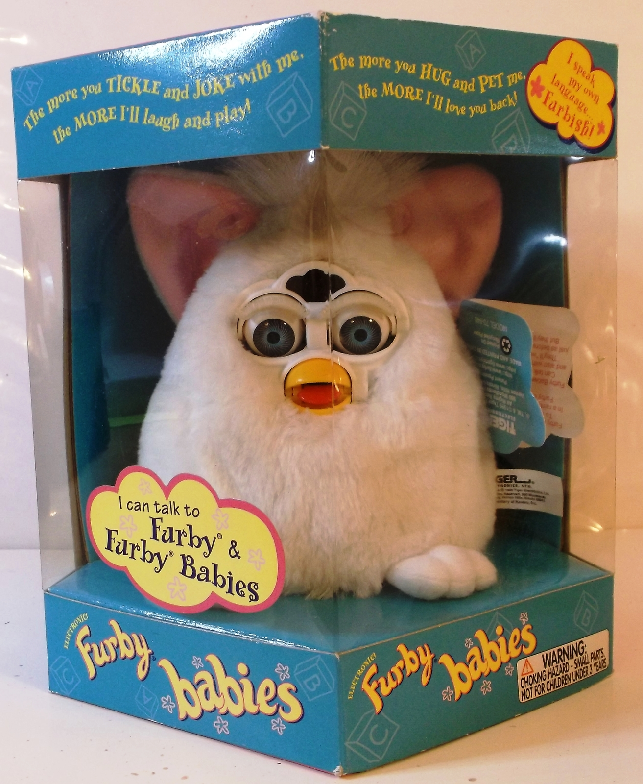 Primary image for 1999 Hasbro Furby Babies White w/Pink Ears Blue Eyes Model 70-940 Brand New