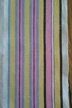 VINTAGE LINEN KITCHEN TOWEL ~ BOLD MULTI-COLOR YELLOW PINK BLUE & BLACK ... - $6.92