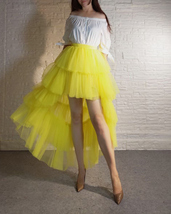 High Low Tulle Skirt Long Layered Tutu Skirt Outfit Plus Size Yellow Hi Low image 1