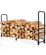 8 Feet Outdoor Steel Firewood Log Rack Wood Storage Holder for Fireplace... - $150.00