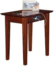 Wood Side End Table Walnut Finish USB Power Outlets Electric Solid Hardw... - $119.91