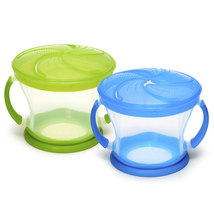 2 Piece Snack Cather Cups Blue And Green Spill Proof Toddler Snack Conta... - $8.70