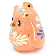 Handcrafted Painted Ceramic Peach Pink Owl Confetti Ornament Made in Peru image 2