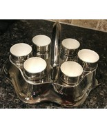 Devon Ware SF & Co Stokes on Trent Silverine Egg Tray & 6 Cups circa 191... - $29.99