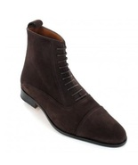 Handmade Cap Toe Brown Lace Up Boots, Men's Brown Ankle High Formal Sued... - $179.97+