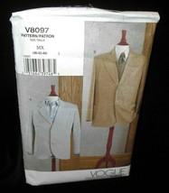 Vogue V8097 Mens chest 40 Jacket Blazer loose fitting unlined notched co... - $19.79