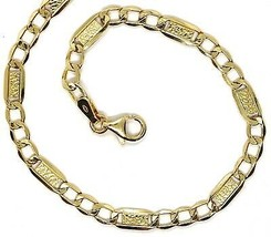 Chain Yellow Gold 18K 750, 50 cm, Curb and Plates, Working Bubbles, 4 MM - $751.49