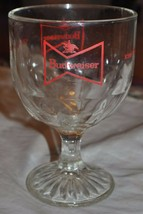 Budweiser King of Beers bowtie stemmed thumbprint goblet glass 12 oz heavy - $14.01