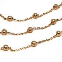 18K ROSE GOLD BALLS CHAIN 2 MM, 35 INCHES LONG, SPHERE ALTERNATE OVAL ROLO image 2