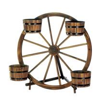 planter, Wagon Wheel Barrel decorative rustic patio planter outdoor garden - $131.19