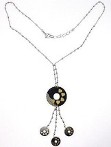 Silver necklace 925 Chain Balls, Flower, Hearts, Discs Charms, bicolor image 2