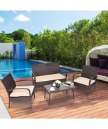 4 Pcs Outdoor Table Set Outdoor Sofa With Cushions Rattan Couch Patio Se... - $220.13
