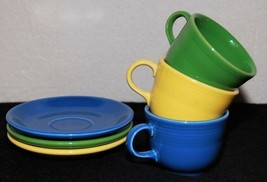 Fiestaware Tea Cups / Mugs & Saucer Plates 6pc Dishes, -green-blue-yellow- - $16.50