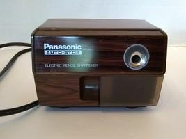 Vintage KP-110 Panasonic Auto Stop Electric Pencil Sharpener Brown Woodg... - $53.46