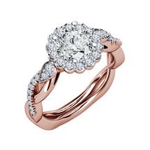 Flower Design Womens Diamond Engagement Ring 14k Rose Gold Over 925 Soli... - $72.99
