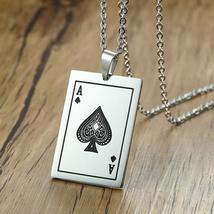 MEAEGUET Stylish Stainless Steel Poker Ace of Spades Card Theme Pendant ... - $13.99