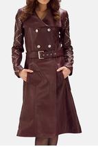 "QASTAN Women's New Smart Elegant Burgundy Leather 36 "" Length Trench Coa... - $149.06+"
