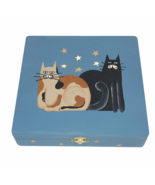 Folk Art Hand Painted CATS Wood Trinket Box Hinged Lid Primitive Cottage... - $24.74