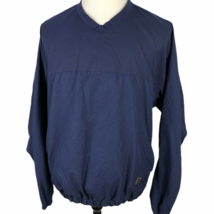 FootJoy V-Neck Pullover Golf Windbreaker Jacket Men's Large Navy Blue Gold - $24.65