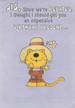 Vintage Birthday Card Cat for Sister Hallmark 1970's - $6.92