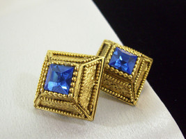 Vintage Voslo Designs Blue Rhinestone Antiqued Gold Plate Clip Earrings ... - $24.75