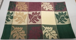 "SET OF 4 FABRIC COTTON PLACEMATS 12""x18"", COLORFUL LEAVES IN SQUARES,Roy... - $17.81"