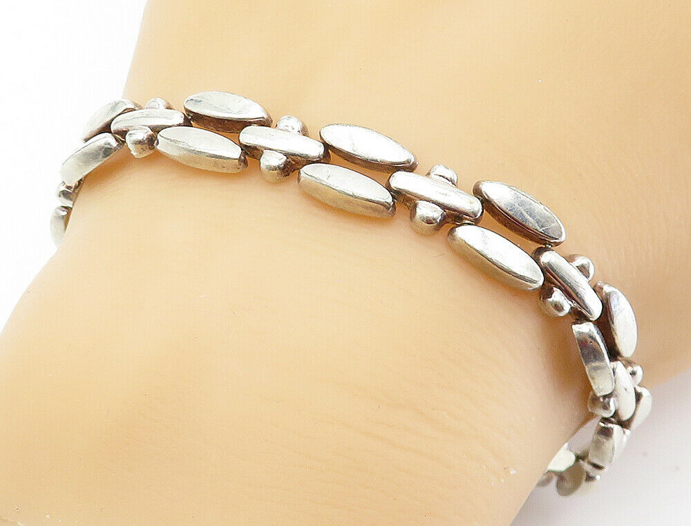 925 Sterling Silver - Vintage Shiny Smooth Two Row Link Chain Bracelet - B6003