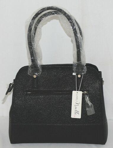 Simply Noelle Brand HB204 Black Color Embossed Floral Pattern Women's Purse