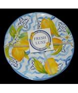 4 Pc Set Fresh Luxe Melamine Lemons Salad Side Plates NWT FREE SHIPPING - $42.56